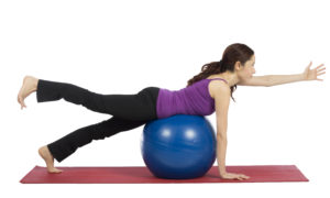 modified superman exercise on physioball cancer exercise training institute