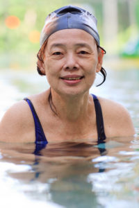 senior Asian Woman in Swimming Pool